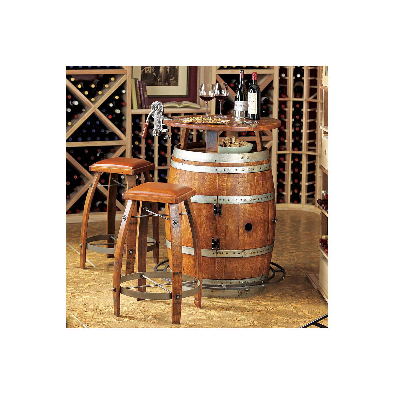 Vintage Oak Wine Barrel Bistro Table Bar Stools Wine Enthusiast