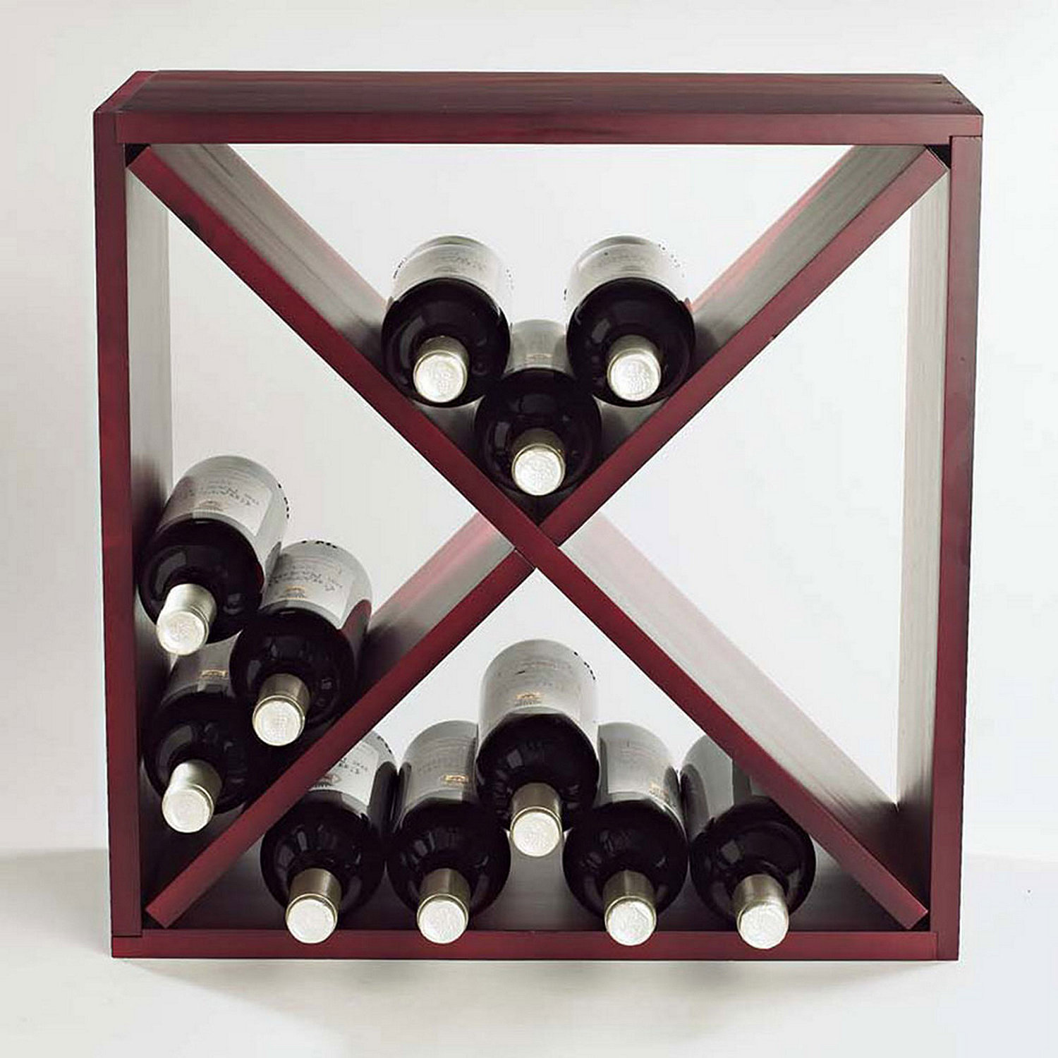 24 Bottle Compact Cellar Cube Wine Rack Mahogany Wine Enthusiast