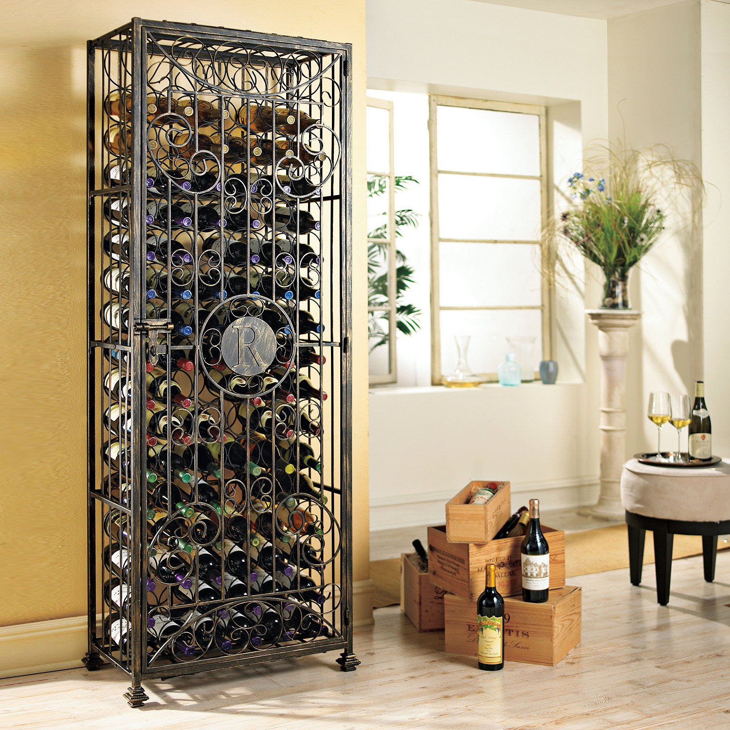 Personalized 96 bottle antiqued steel wine jail wine enthusiast