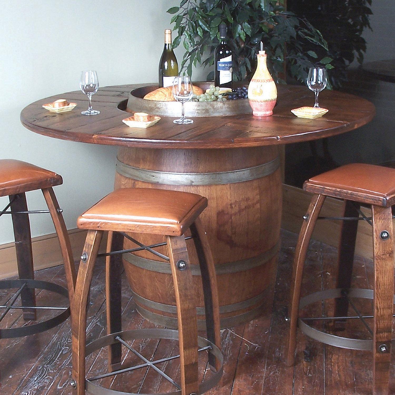 Vintage Oak Full Wine Barrel Bistro Table Wine Enthusiast