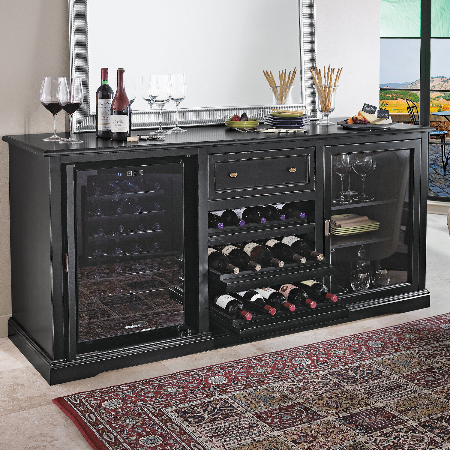 Excellent Siena Wine Credenza (Nero) with Two Wine Refrigerators - Wine  MG06