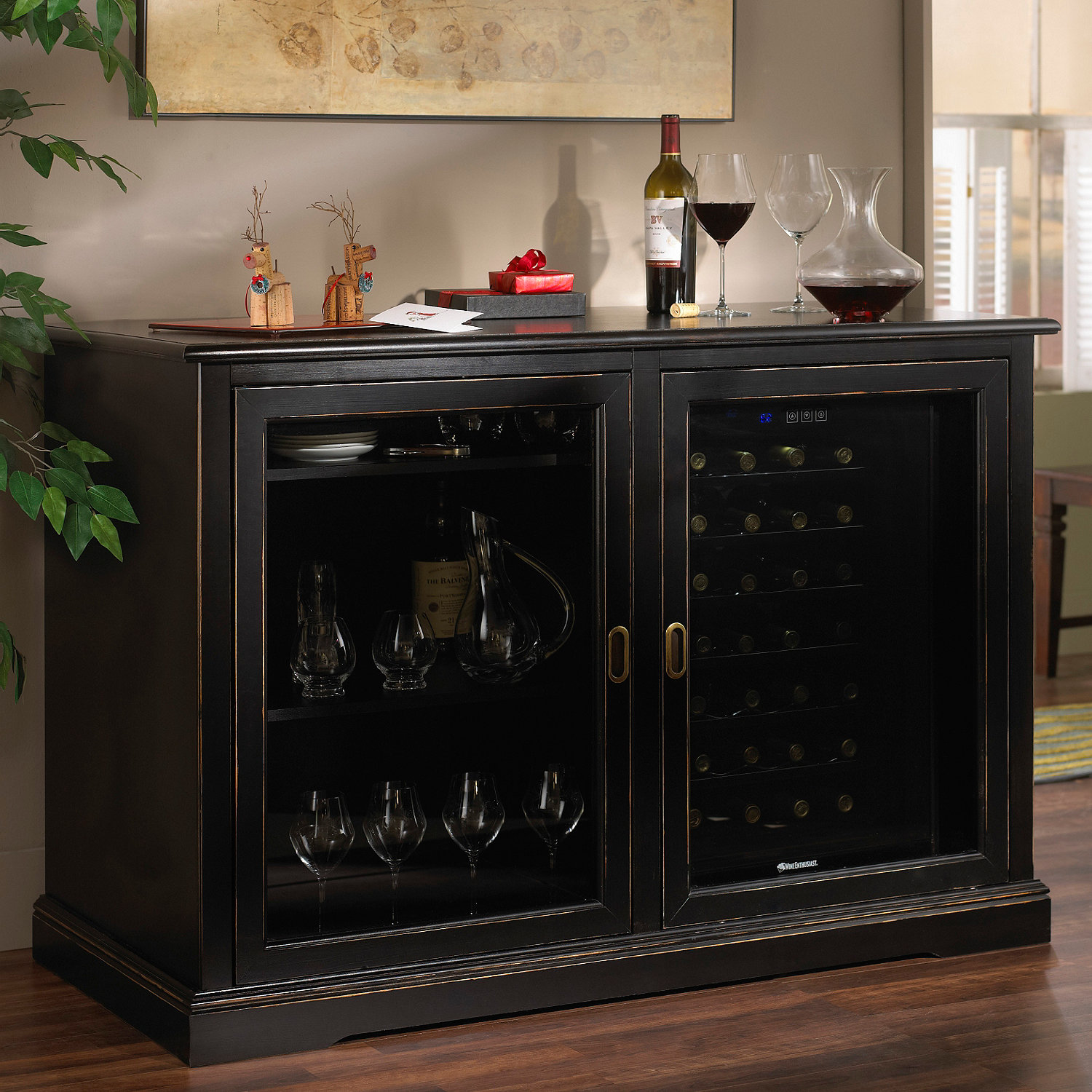 Popular Siena Mezzo Wine Credenza (Nero) with Two Wine Refrigerators  BP37