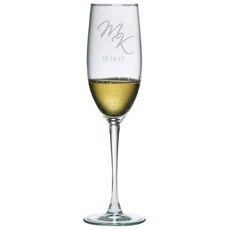 personalized 8 oz connoisseur champagne flutes set of 2 script
