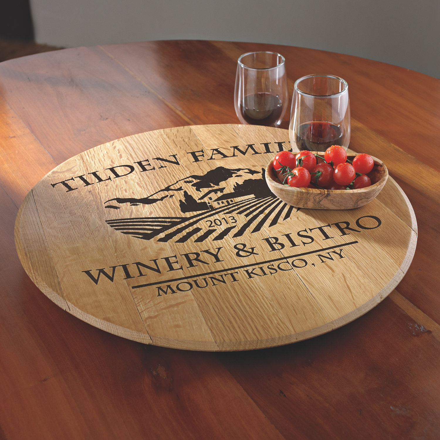 Personalized American Oak Chateau Lazy Susan Wine Enthusiast