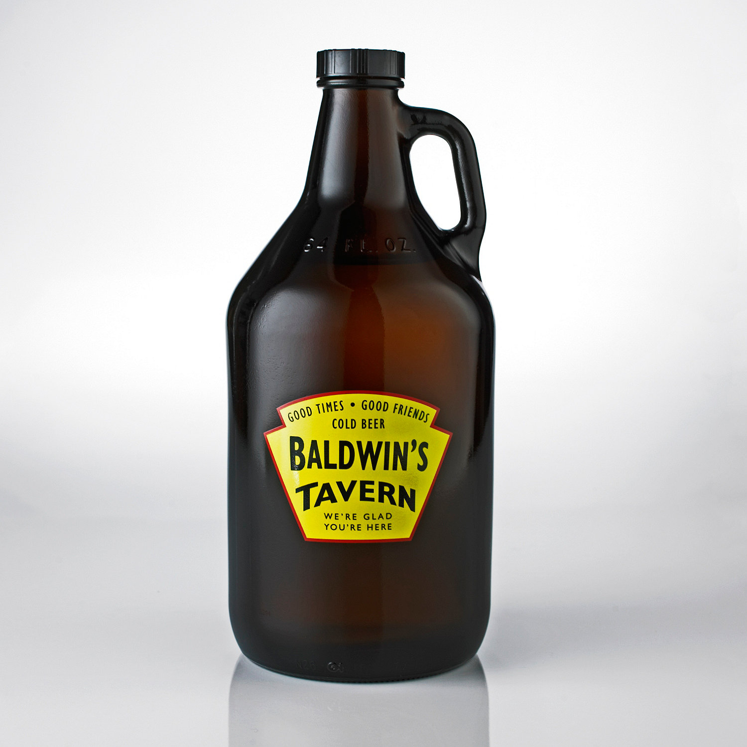 personalized yellow tavern beer growler wine enthusiast