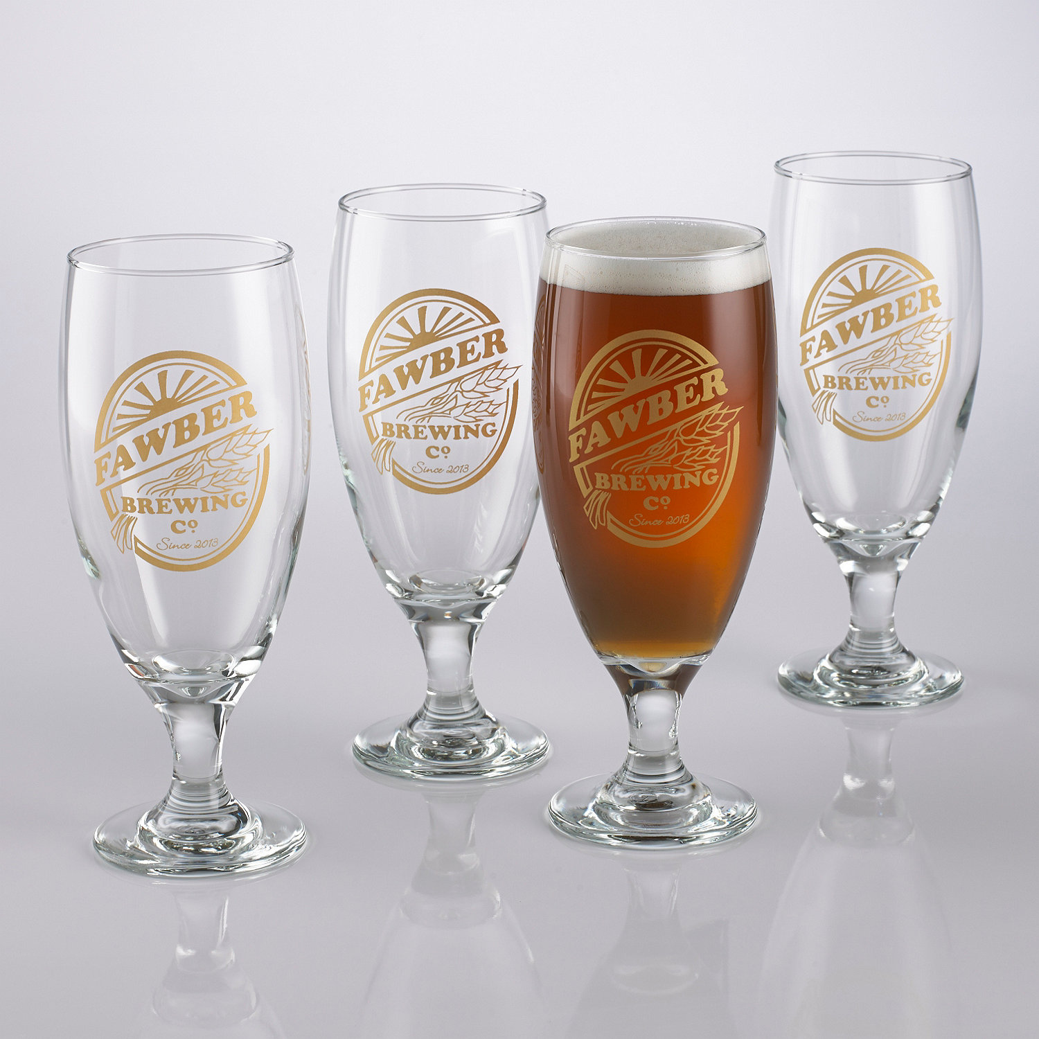personalized brewing co pilsner glasses set of 4 wine enthusiast