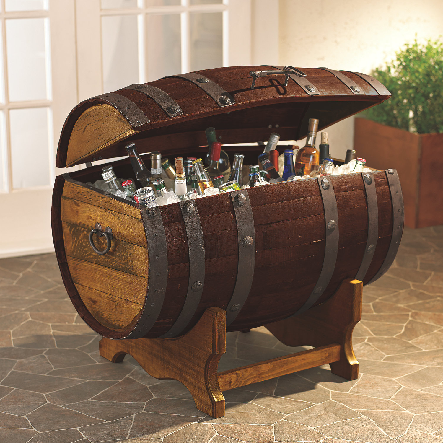 Reclaimed Tequila Barrel Ice Chest and Stand (Large) - Wine Enthusiast