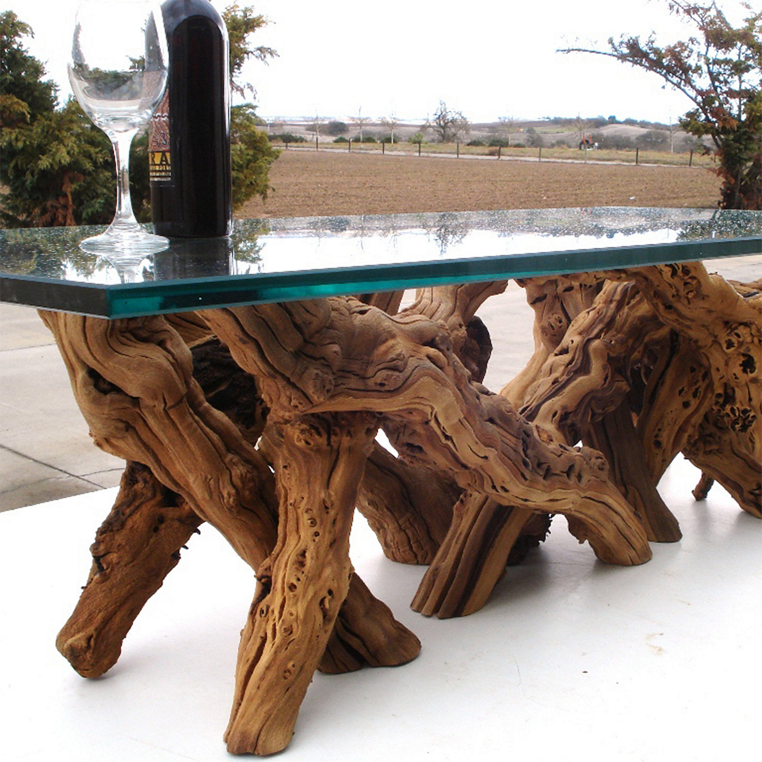 Grapevine Dining Table Glass Rectangle X Wine Enthusiast - Grapevine coffee table