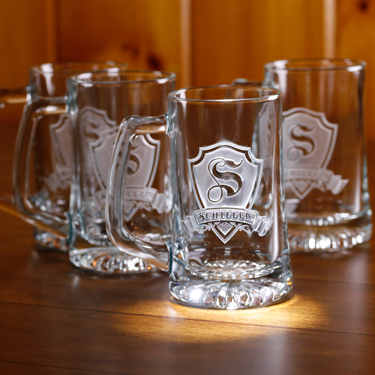 personalized shield beer mugs set of 4 wine enthusiast