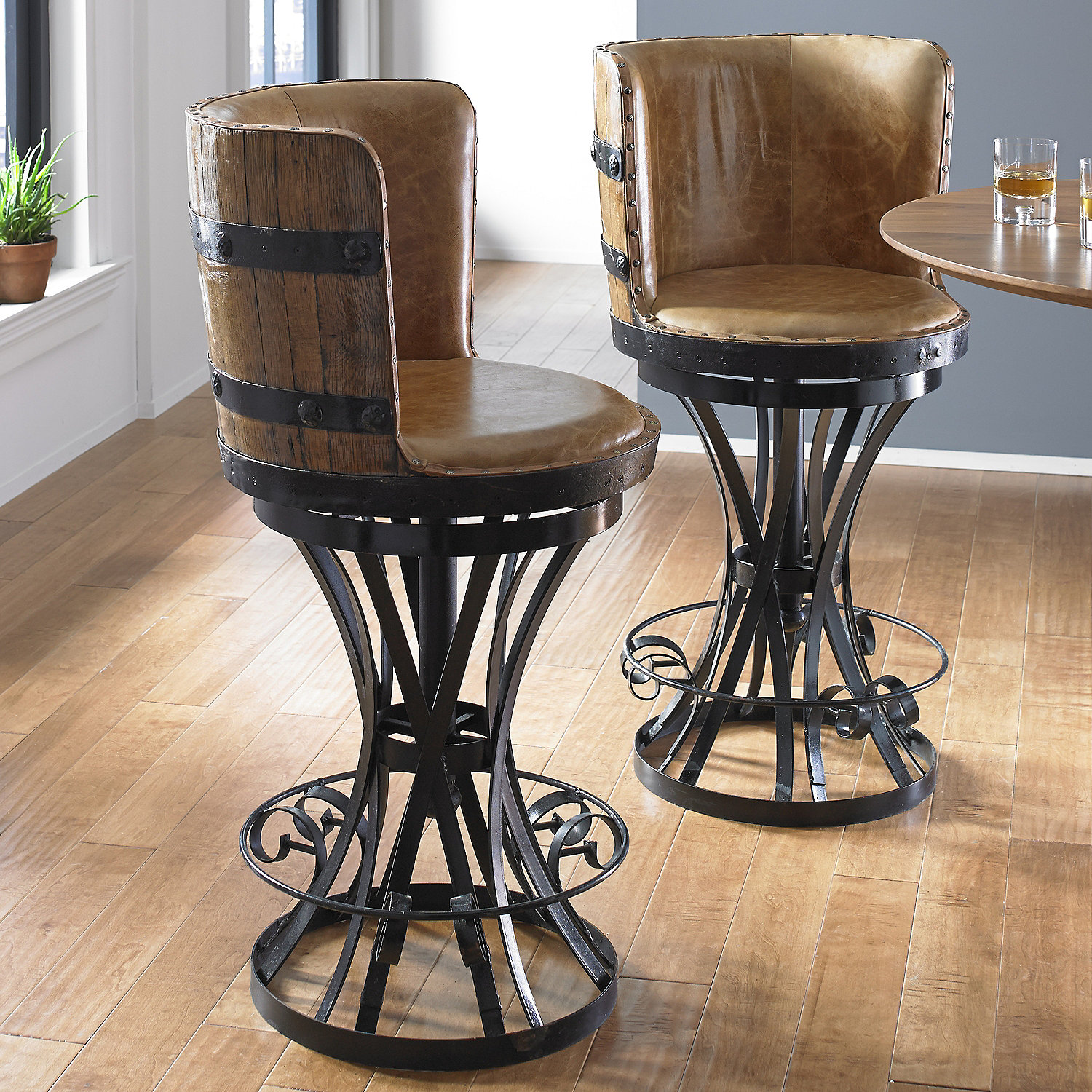 Popular Tequila Barrel Stave Stool with Leather Seat - Wine Enthusiast NV93