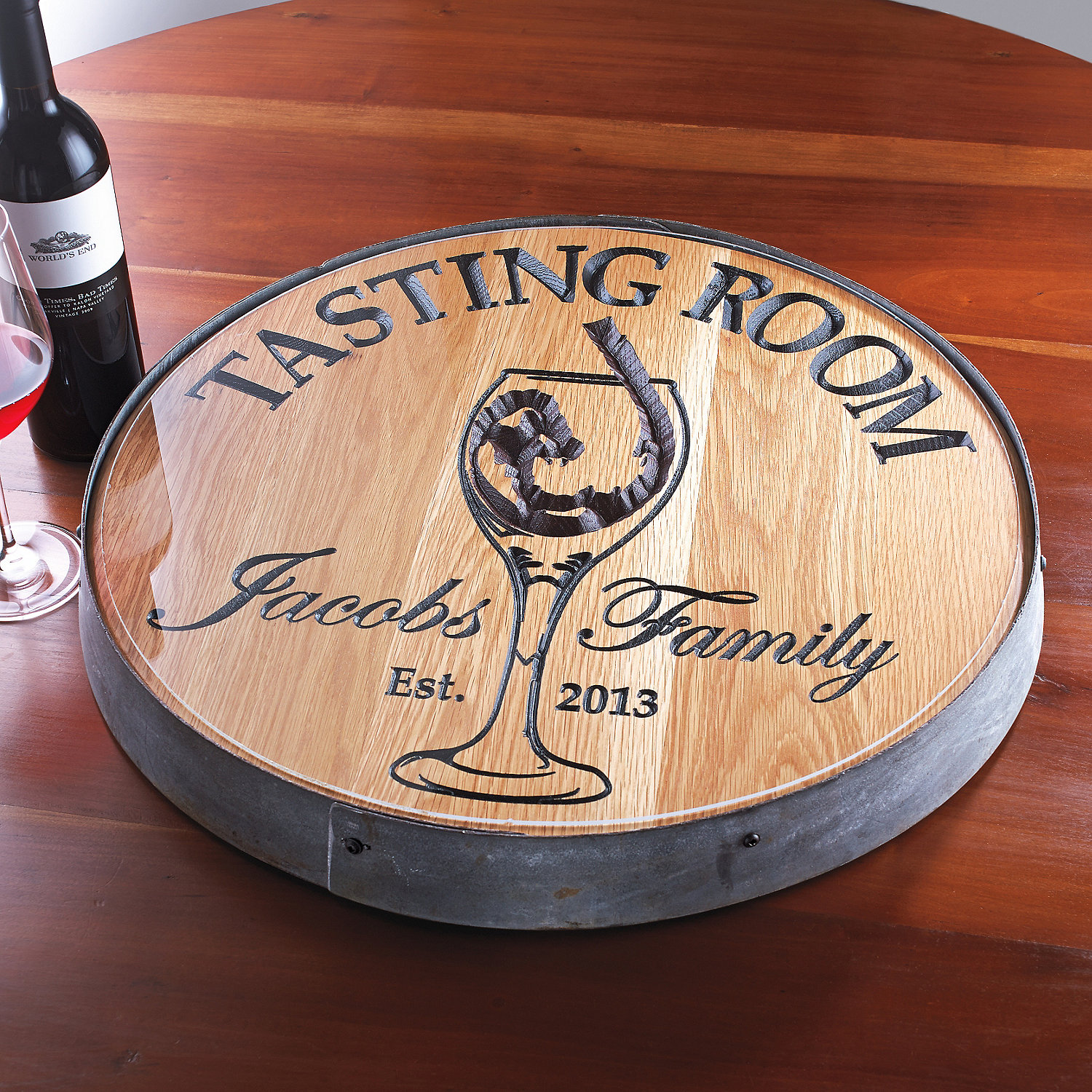 Personalized Reclaimed Wine Barrel Head Lazy Susan With Tasting Room
