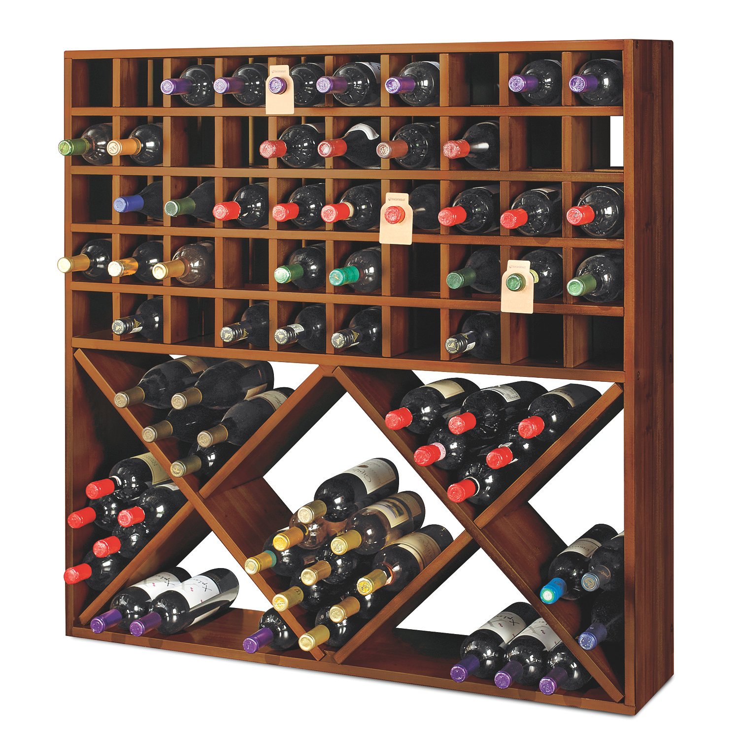 Jumbo Bin Grid 100 Bottle Wine Rack Walnut Wine Enthusiast