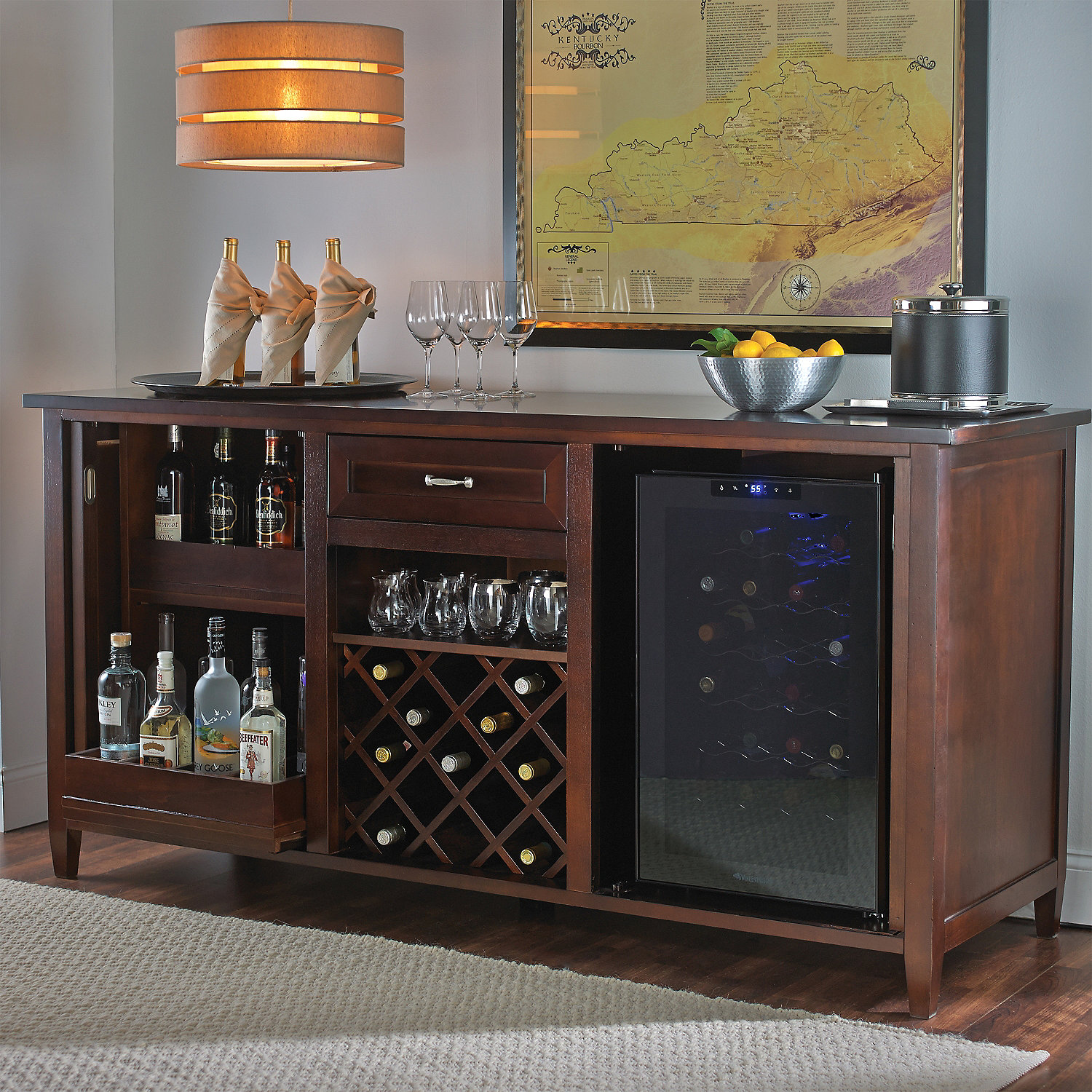 Firenze Wine And Spirits Credenza With 28 Bottle Touchscreen Refrigerator Enthusiast