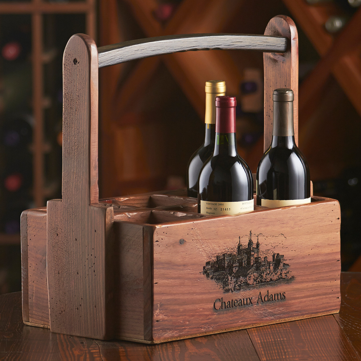 724c5cc311 Personalized 6 Bottle Wooden Wine Caddy - Wine Enthusiast