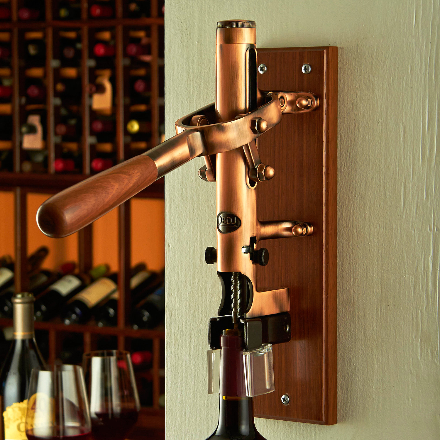 Boj Wall Mounted Cork With Wood Backing Old Coppered Wine Enthusiast