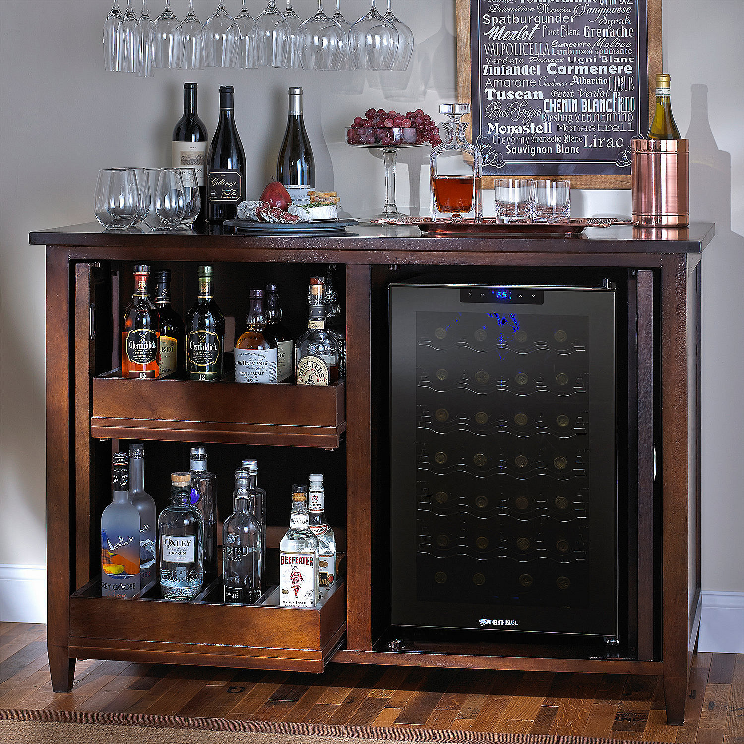Siena Wine Credenza Nero With Wine Refrigerator Siena