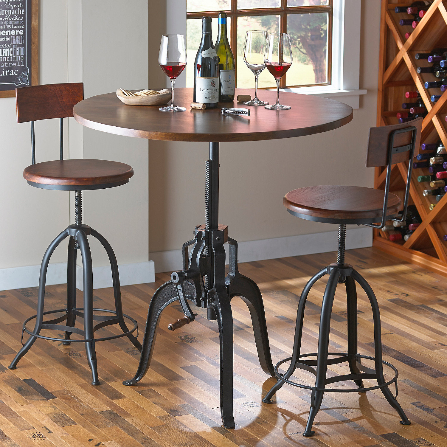 Industrial crank pub table and two stools wine enthusiast preparing zoom watchthetrailerfo