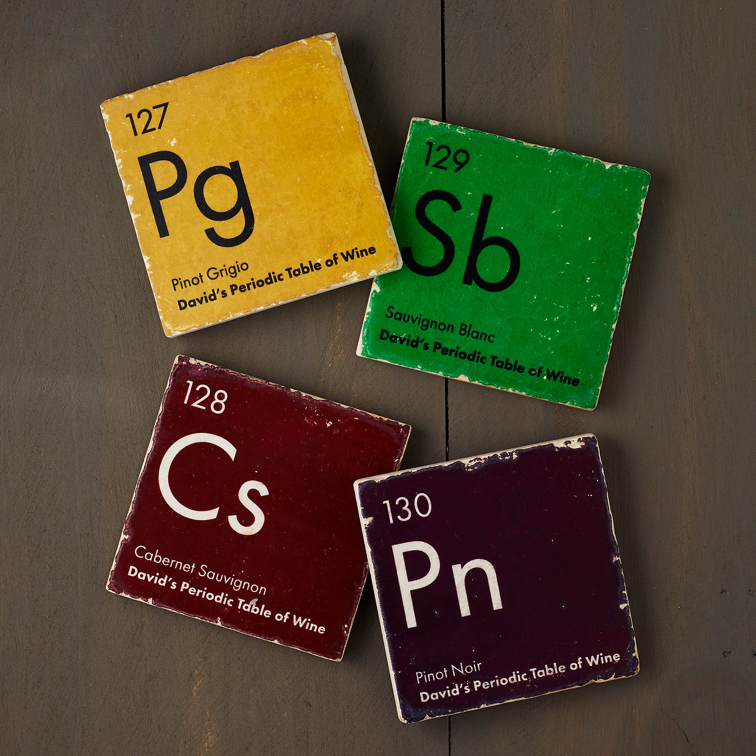 Personalized Periodic Table Of Wine Marble Coasters Set Of 4