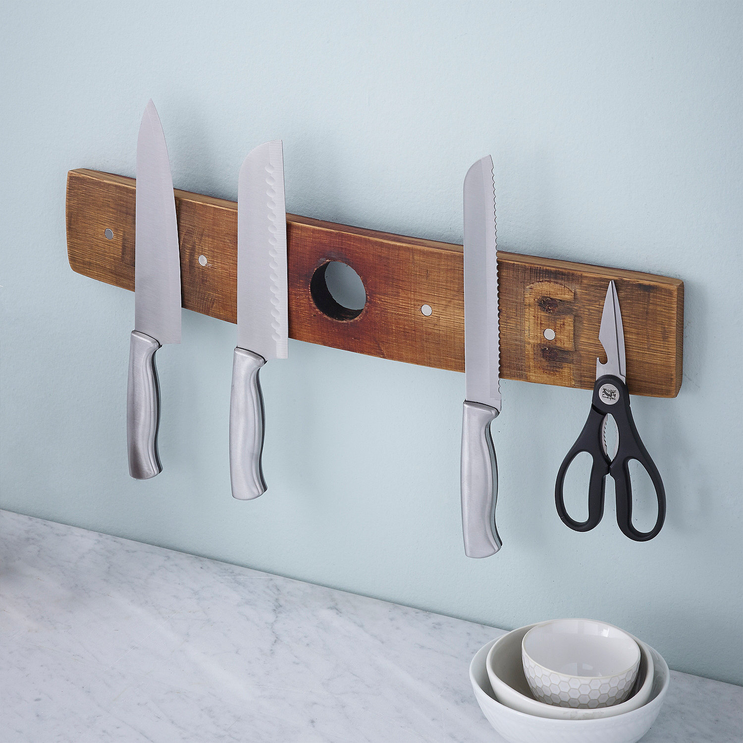 Reclaimed Barrel Stave Magnetic Knife Rack - Wine Enthusiast