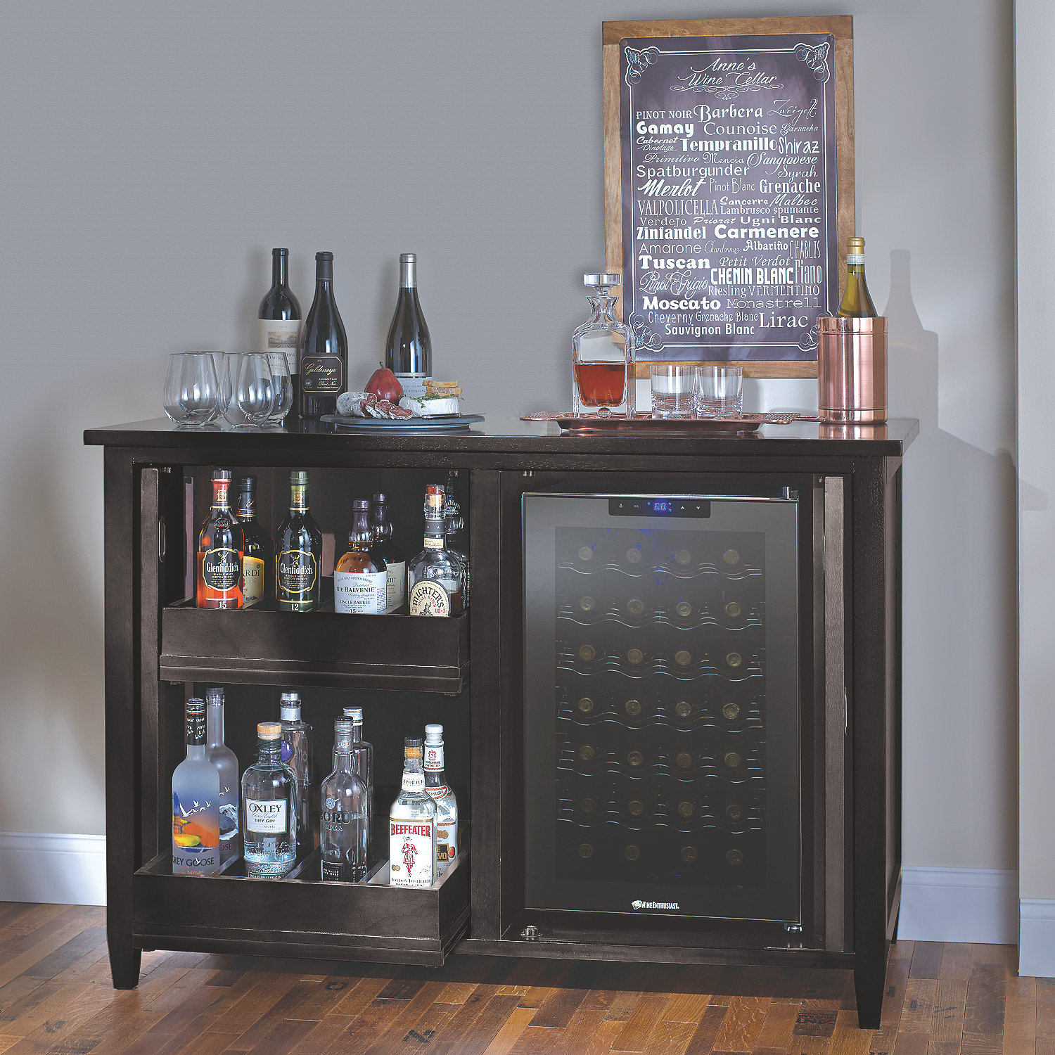 Refrigerated wine cabinet credenza cabinets matttroy Living room bar with fridge