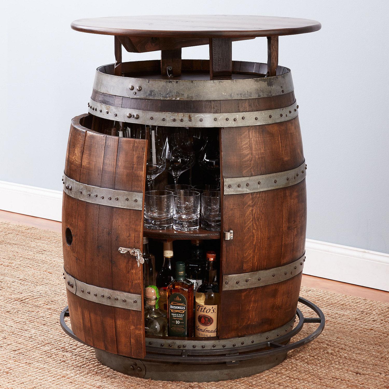 Vintage Oak Barrel Bistro Table Whiskey Finish Wine Enthusiast