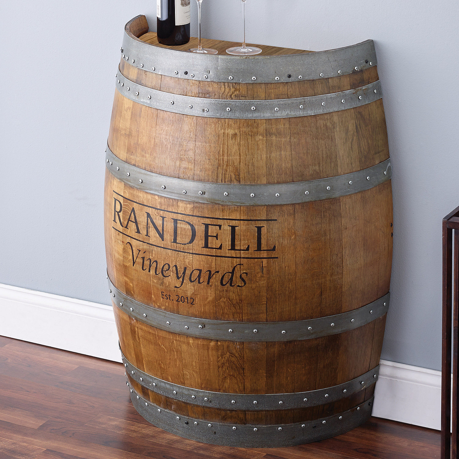 Reclaimed Half Barrel Table Personalized Wine Enthusiast