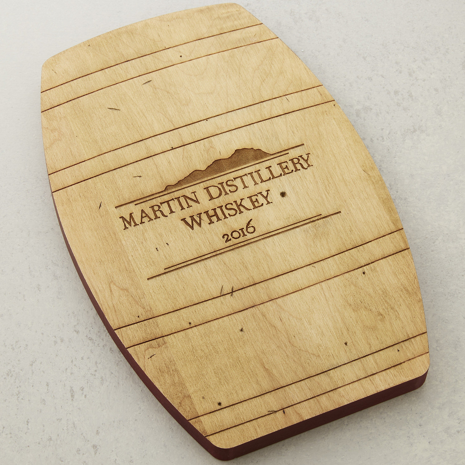 Personalized Whiskey Barrel Cheese Board - Wine Enthusiast