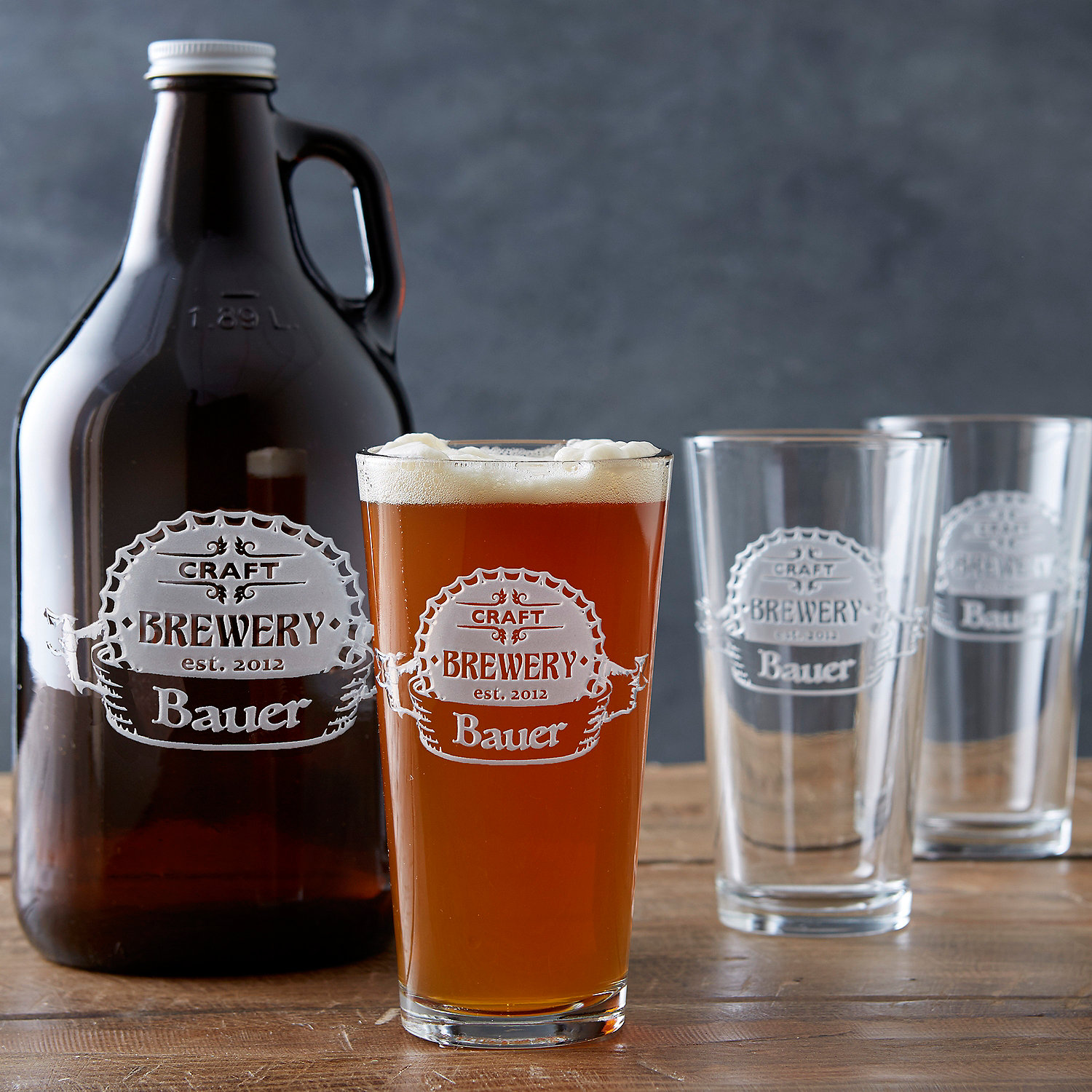 Personalized Etched Craft Brewery Growler And Pint Gles Set Wine Enthusiast