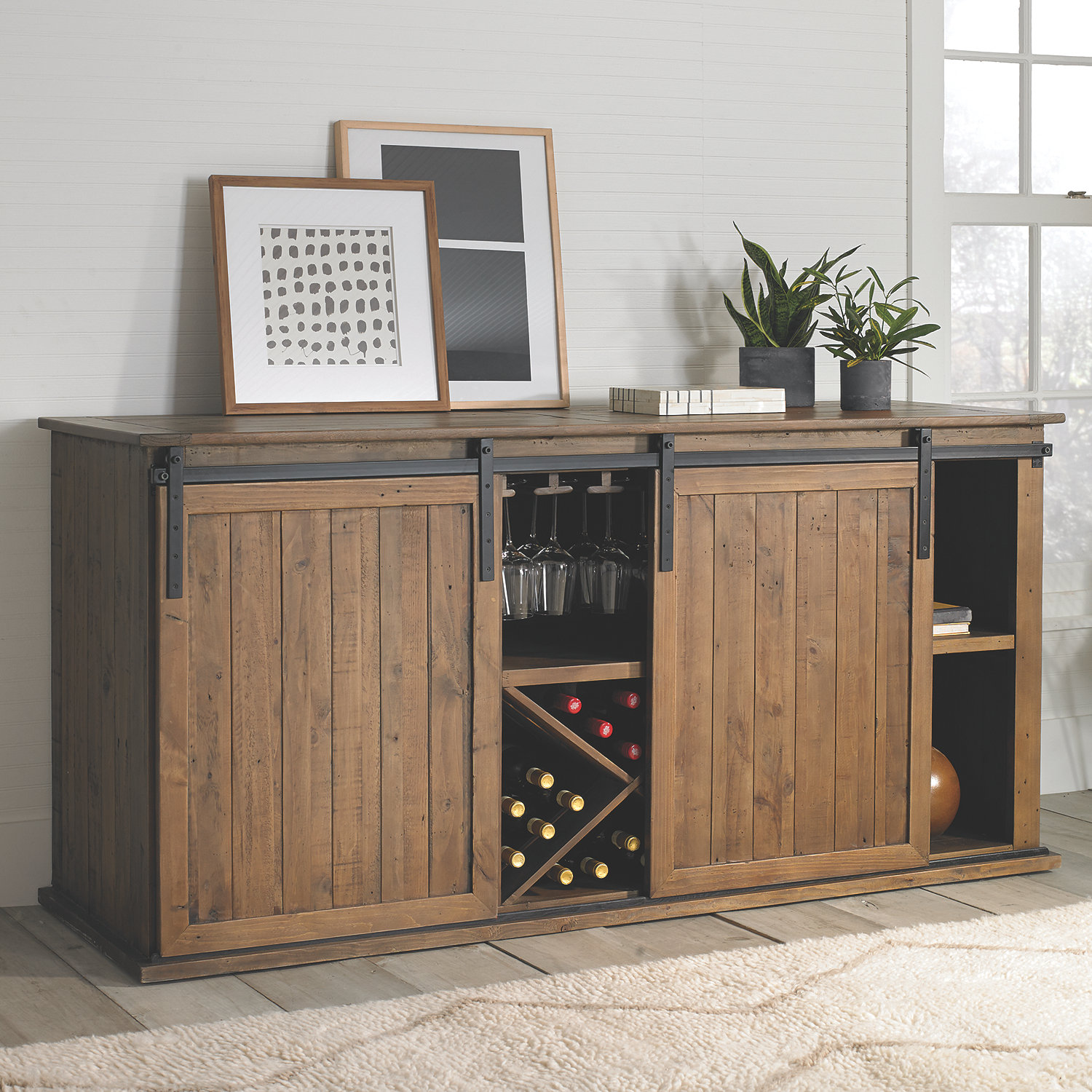 Mesa Sliding Barn Door Credenza Wine Enthusiast