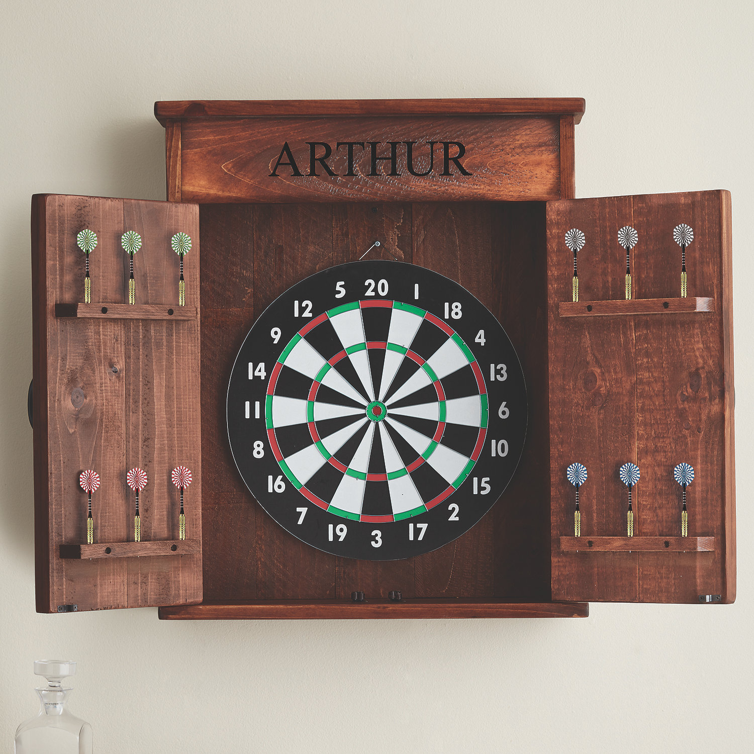 Personalized Dart Board Cabinet Wine Enthusiast