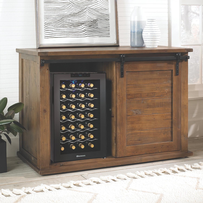 Sliding Barn Door Console Cabinet: Wine Cooler Credenza Glass Doors