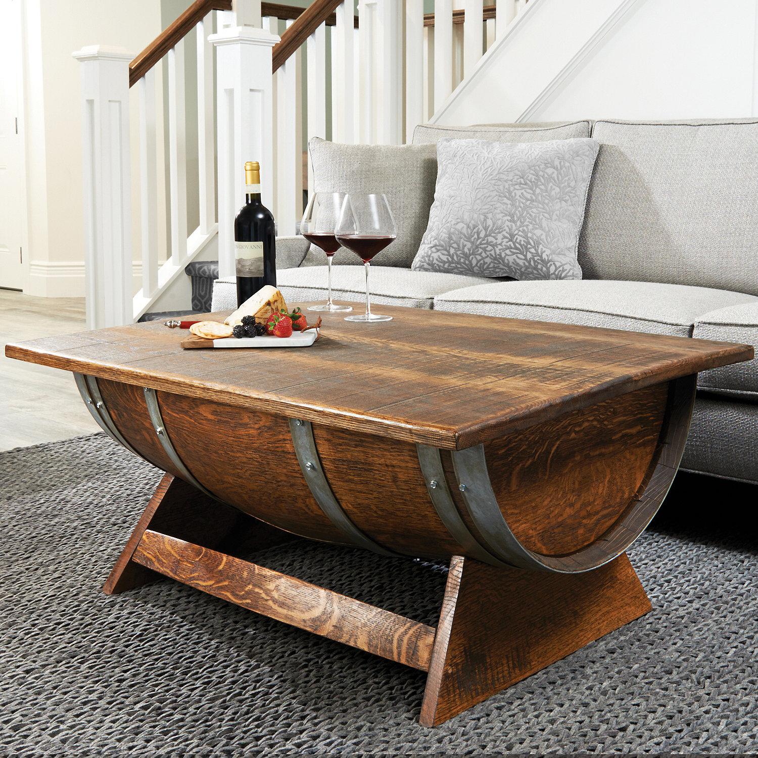 Reclaimed Wine Barrel Coffee Table With Unique Lift Top Wine