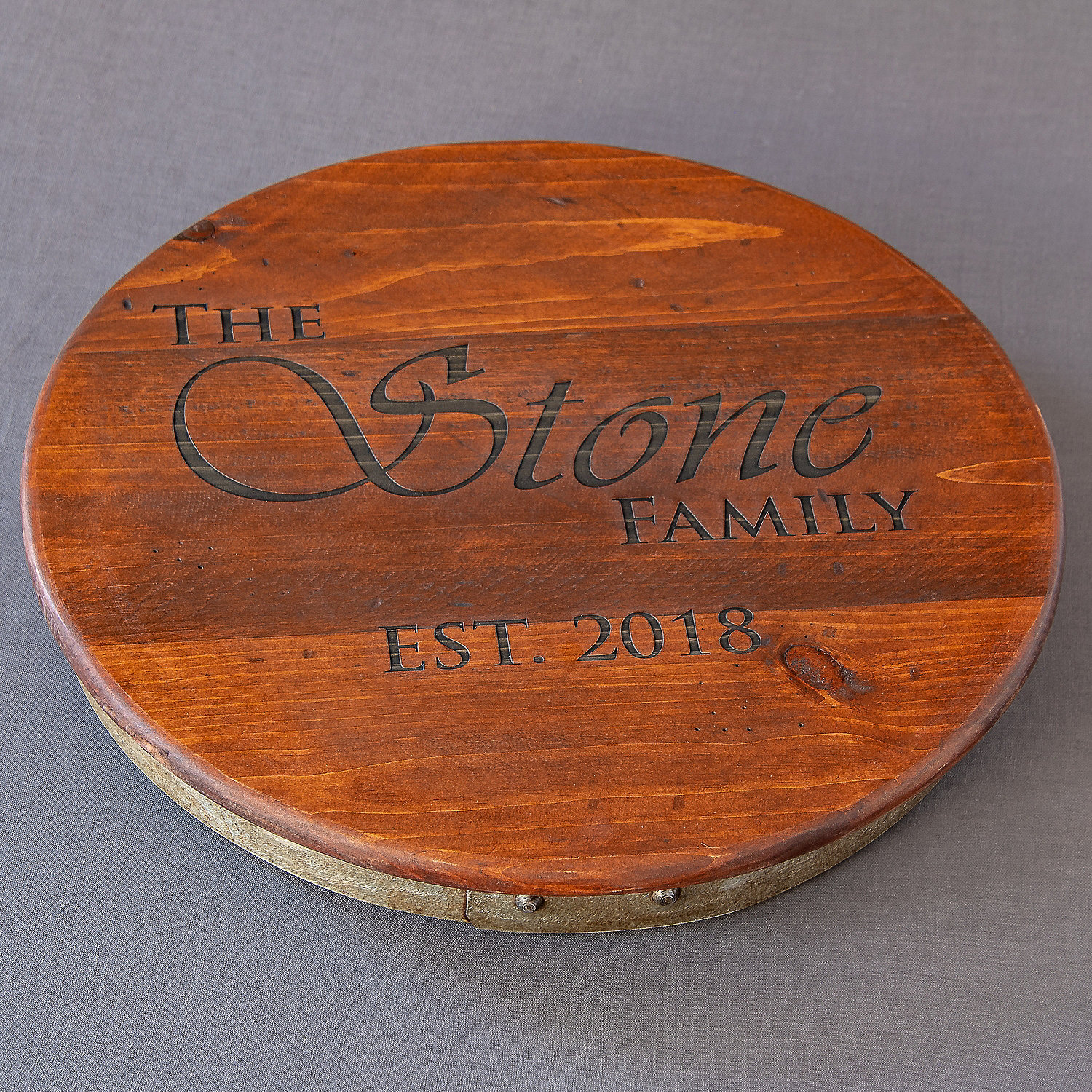 Personalized Raised Wine Barrel Lazy Susan With Family Name And Year