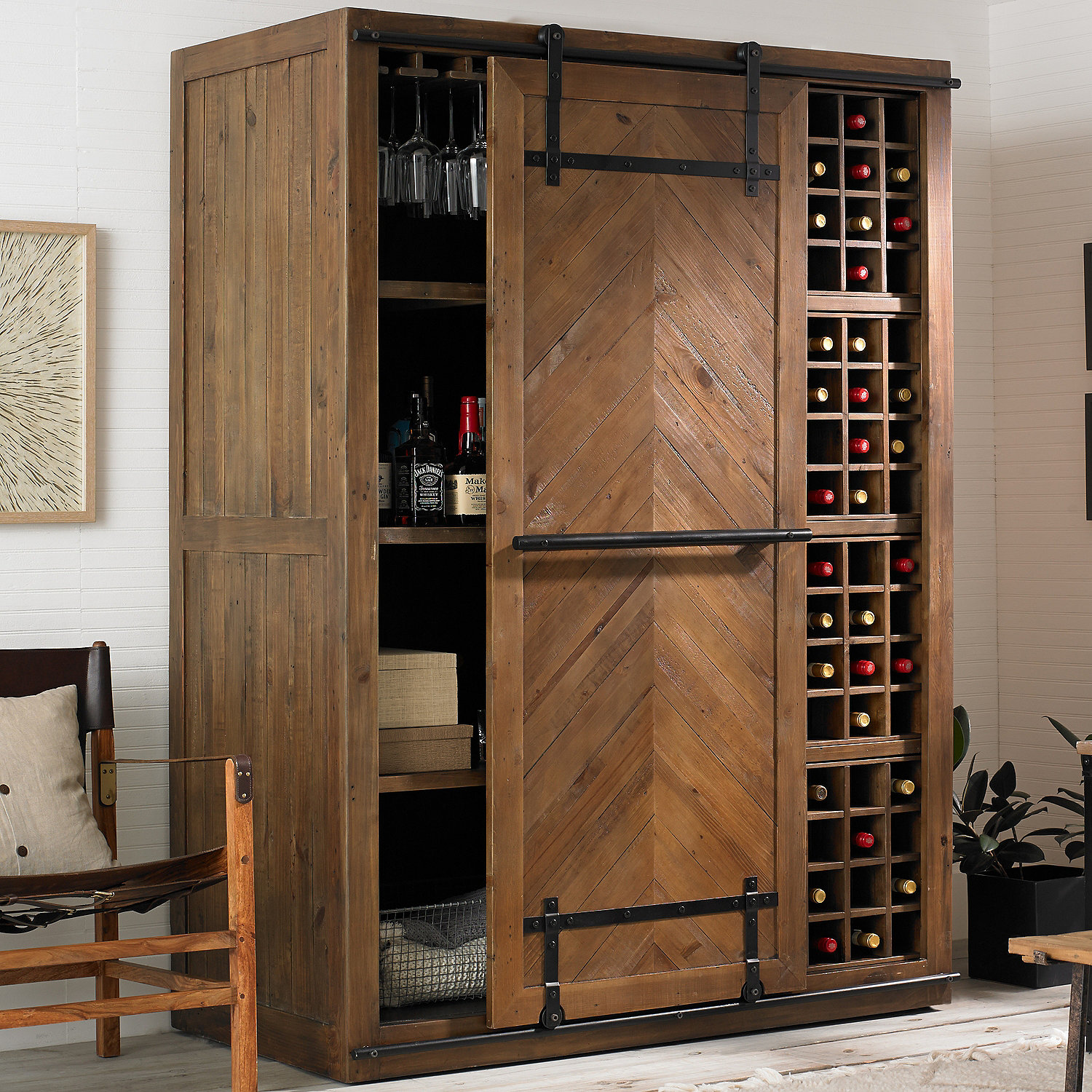 Mesa Sliding Barn Door Armoire Wine Enthusiast
