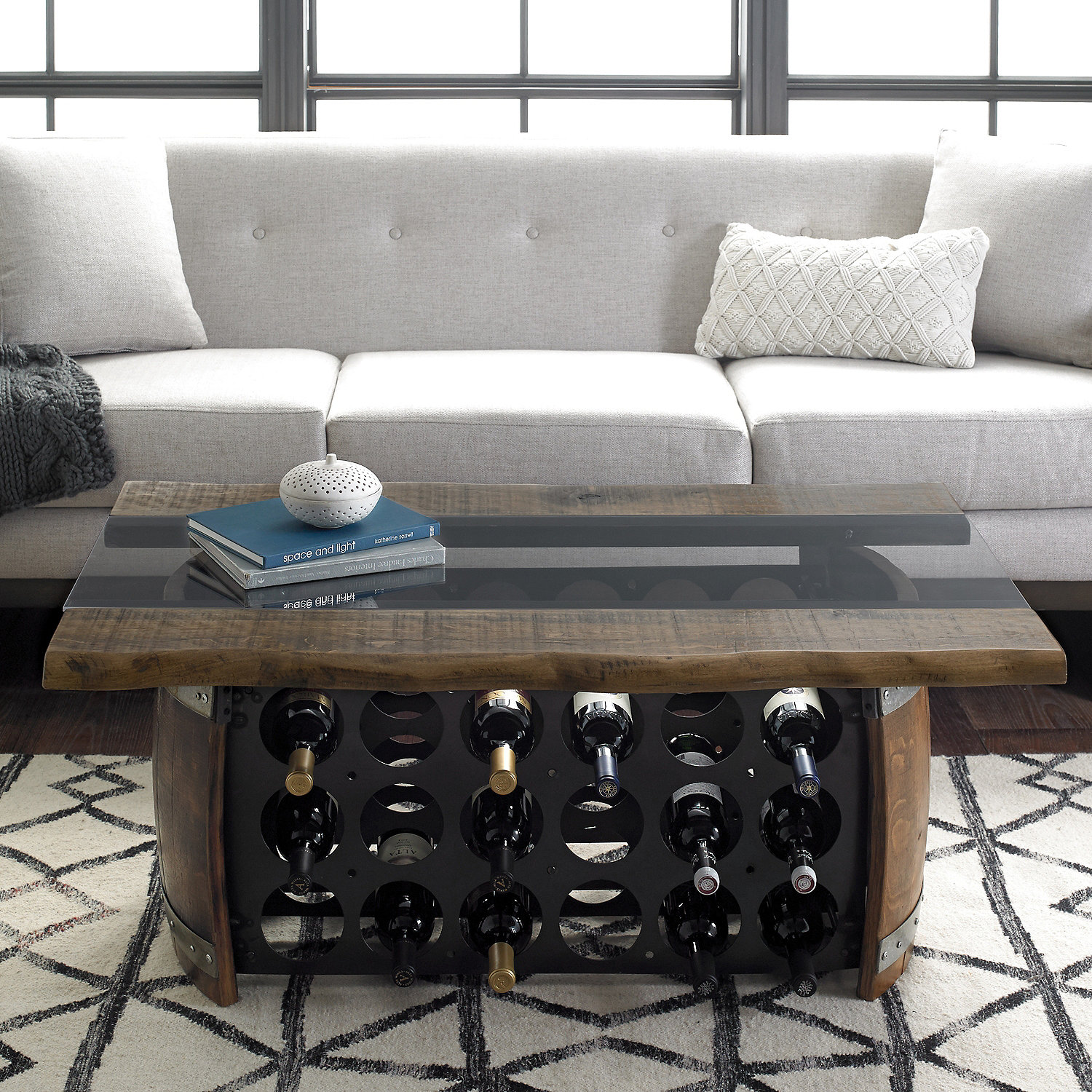 Loire Wine Barrel Coffee Table With Glass And Wood Top Wine Enthusiast