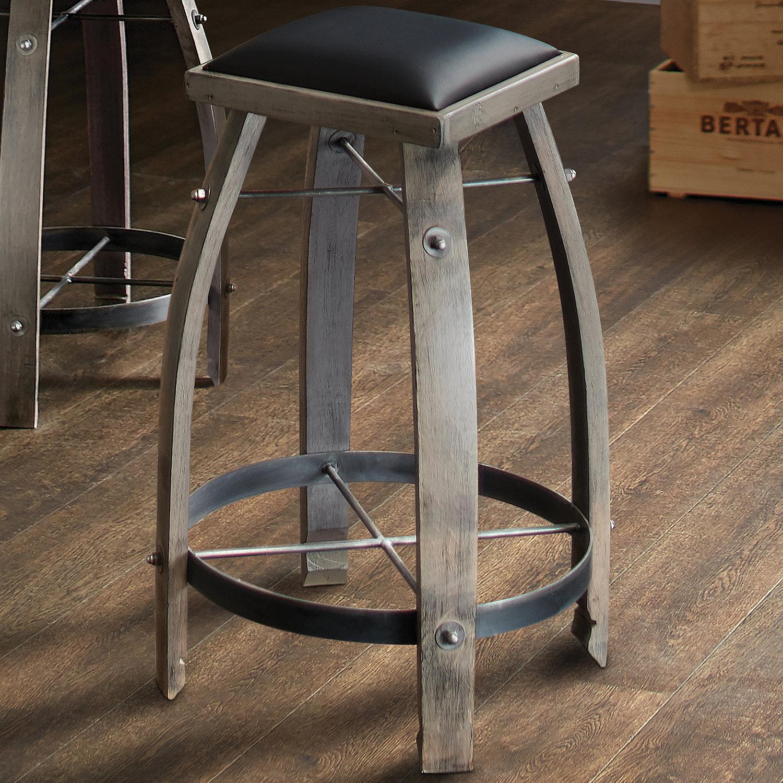 Vintage Oak Wine Barrel Bar Stool Antique Gray Finish With Black Leather Seat Enthusiast
