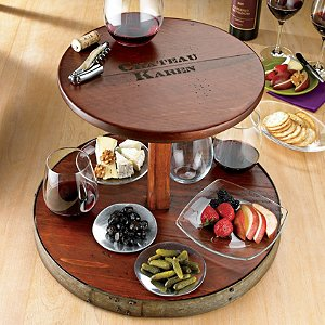 Personalized 2-Tier Wine Barrel Lazy Susan