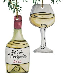 Personalized White Wine Bottle and Wine Glass Ornament
