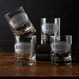 Old Fashioned Deep Etched Whiskey Glasses (Set of