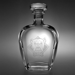 Monogrammed Etched Bulldog Decanter