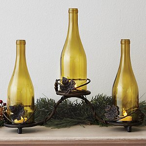 Grapevine Wine Bottle Candle Holder