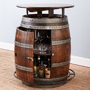 Vintage Oak Barrel Bistro Table Whiskey Finish Wine