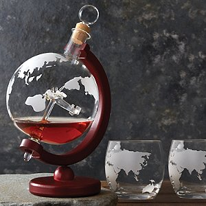 Globe Whiskey Decanter with Antique Plane & Glasses