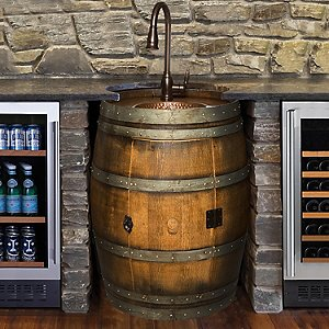 Reclaimed Wine Barrel Bar Sink Wine Enthusiast