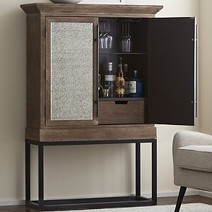 Antiqued Mirrored Glass Door Bar Cabinet