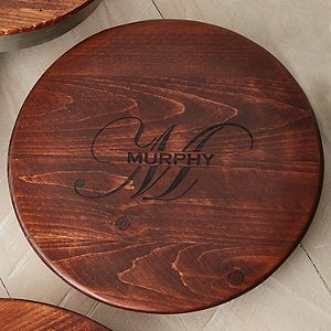 Personalized Raised Wine Barrel Lazy Susan with Name