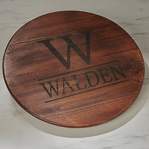 Personalized Raised Wine Barrel Lazy Susan with Initial