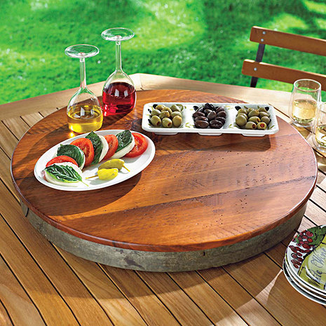 Raised Wine Barrel Lazy Susan