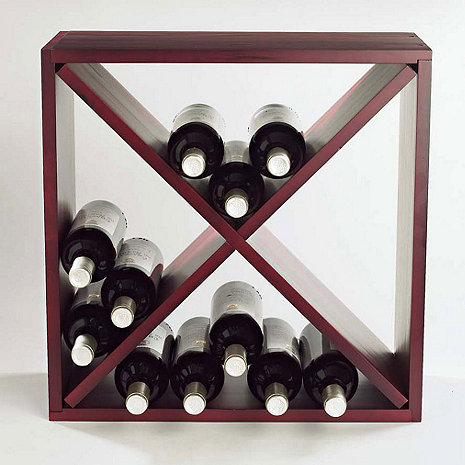 24 Bottle Compact Cellar Cube Wine Rack (Mahogany)
