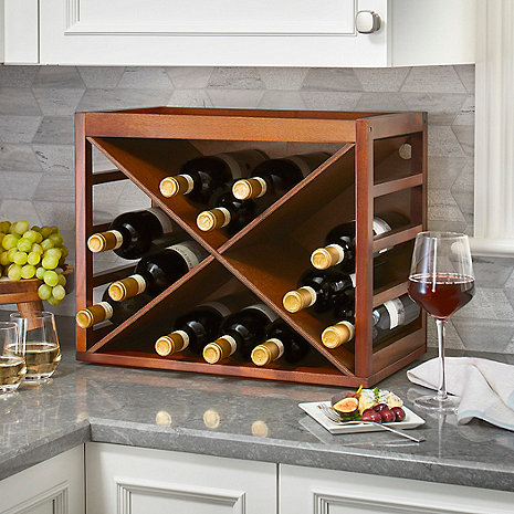 Cube Stack X-Style Wine Rack (Walnut)